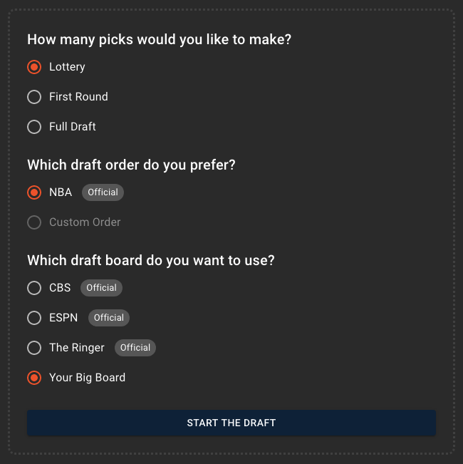 Mock Draft Simulator Options